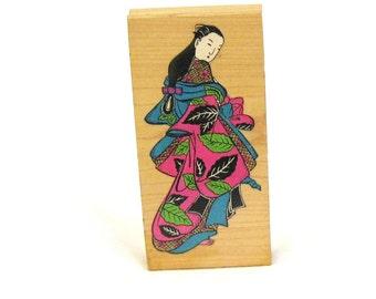 rubber stamp, woman, Oriental woman, detailed clothing, C, destash
