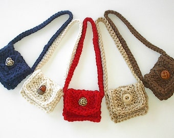 """18 Inch Doll Clothes - Handknit Messenger Bag for 18"""" Doll - You Choose Color and Button - Party Favor Stocking Stuffer Small Gift"""
