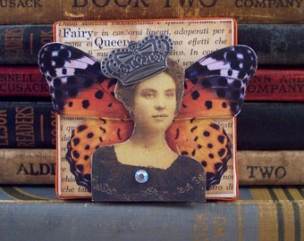 Fairy Queen Collage Art - 3D Mixed Media Assemblage Canvas - Fairy Art - Fairy Wall Hanging - Fantasy Altered Art - Fairy Collage