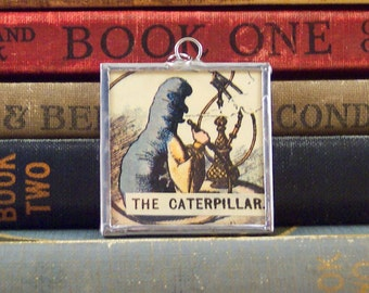The Caterpillar Pendant - Alice in Wonderland Pendant with Vintage Tenniel Book Illustration - Literary Jewelry - Book Lover