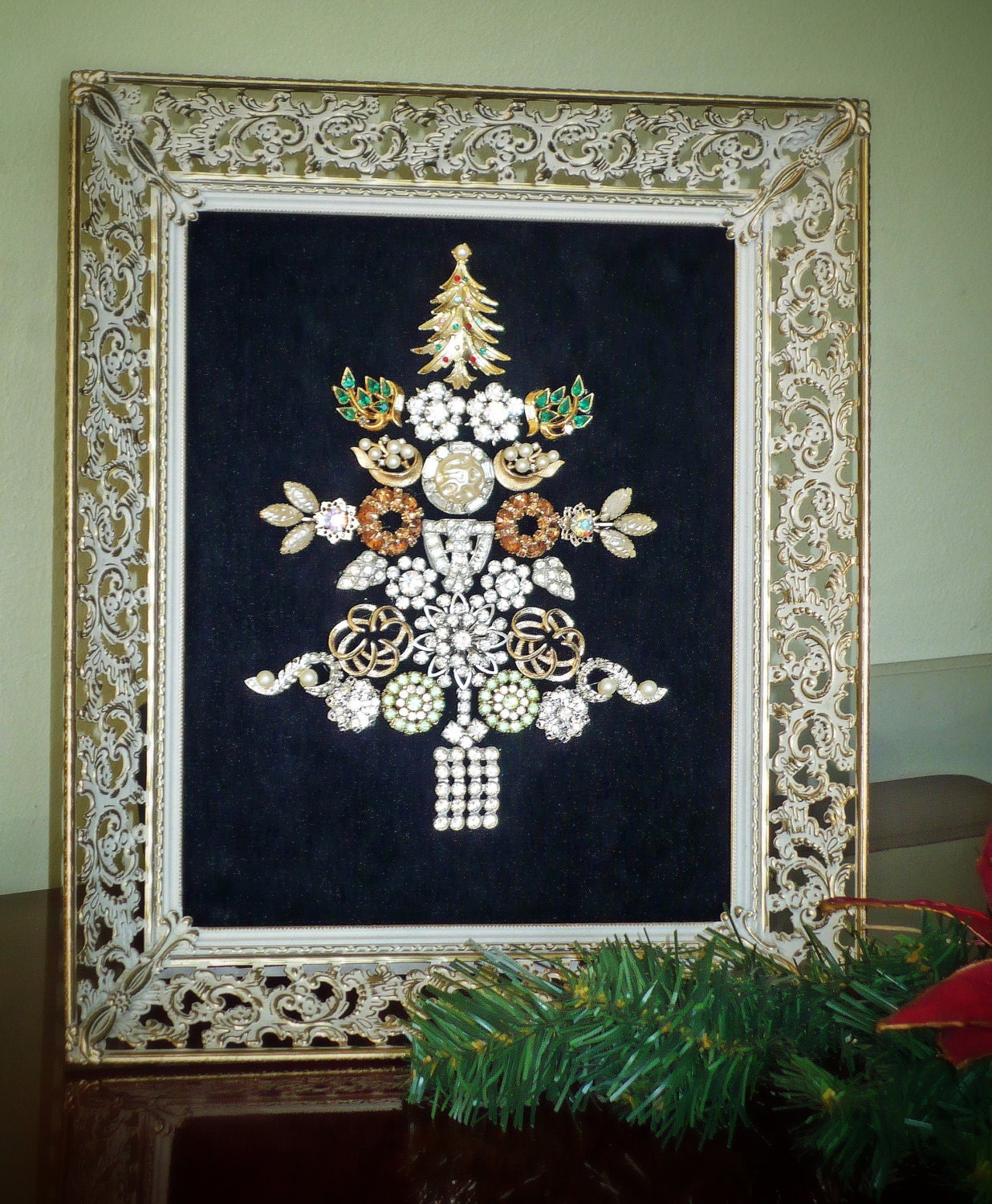 Vintage Jewelry Christmas Tree Collage