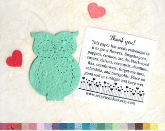 Plantable Seed Paper Owls Baby Shower Favors - Flower Seed Owls