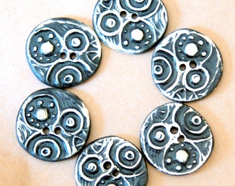 6 Handmade Stoneware Buttons - Circle Steampunk buttons in black and white