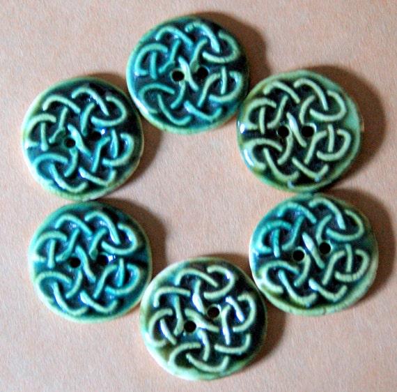6 Handmade Stoneware Buttons - Celtic Knot Buttons Ceramic Buttons in Deep Moss Glaze