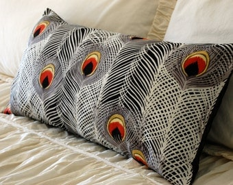Plume of the Peacock Cushion in black and white / modern minimalist pillow / peacock bedding / peacock feathers / black and white pillow