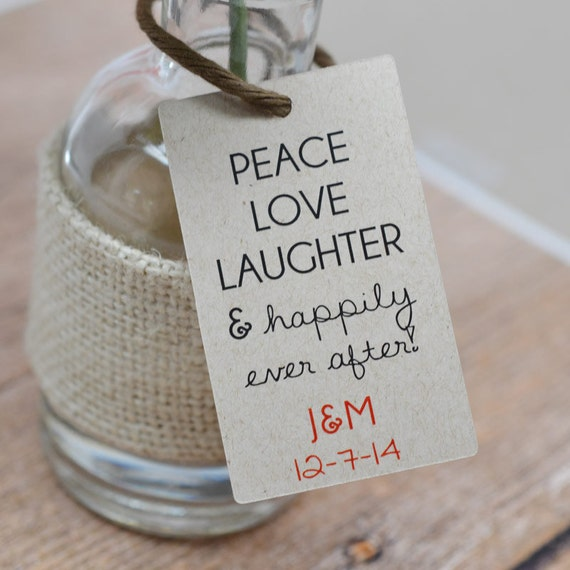 Hanging Wedding Gift Tags : Custom Wedding Favor Tags Peace Love Laughter Gift Tags Hang Tags