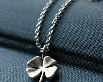 Sterling Silver Four Leaf Clover Necklace - LUCKY