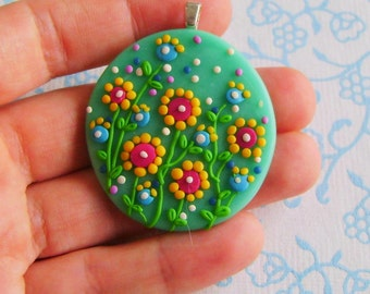 Fimo Polymer Clay Necklace Medallion - flowers in the green garden