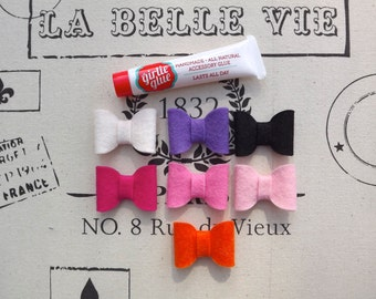 Mini Felt Bows with Girlie Glue All Natural Stick On Glue for Babies.
