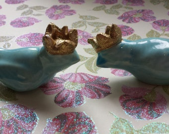 Wedding Cake Topper  Birds  With Crowns Vintage Ceramic in Aqua Home Decor
