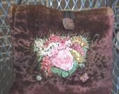 Petite Fibre Art Bag Silk Ribbon Embroidered Floral Design Embellished Glass Button, Butterflies, Flowers
