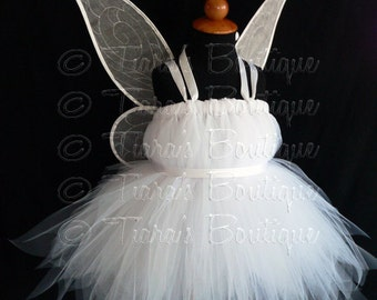 Tutu Costume Tinkerbell, Custom Sewn White Tinker Fairy Tutu Dress, Girls Birthday Tutu, Halloween Tutu *Wings NOT Included