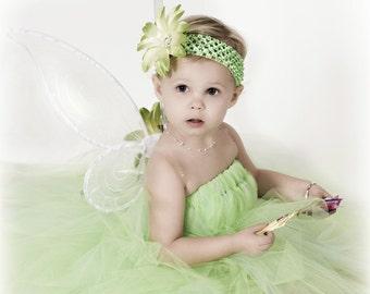 "Tutu Costume Tinkerbell - Custom Tinker Fairy Tutu Dress up to 24 mo & 20"" long and Headband, Girls Birthday Tutu, Halloween Tutu DRESS ONLY"
