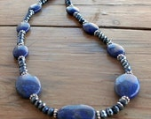 Oval Lapis Lazuli Gemstone Necklace with Sparkle and Shine