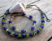 SALE!! 20% OFF in honor of Arizona's Early Spring!!  Deep Purple Russian Amethyst and Lime Green Arizona Peridot Necklace and Bracelet set.