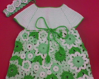 Flower Dress Irish Lace crochet pattern  size 1 year old and up