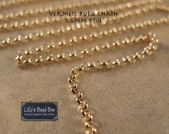 Vermeil 1.6mm Rolo Chain - 970i - By the Foot, Jewelry Necklace Chain, Footage Chain