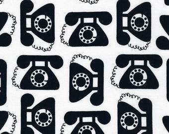 "Ann Kelle's ""This and That"", Retro antique Telephones in Black, 1/2 yard"
