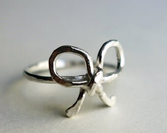 Sterling Silver Bow Ring Promise Ring Knot Ring