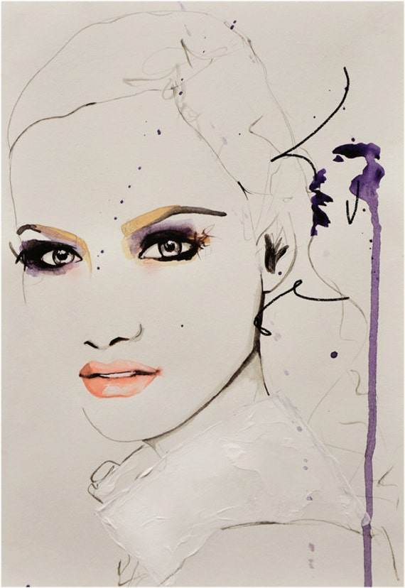 Makeup Drawing: Savage Beauty Fashion Illustration Art Print
