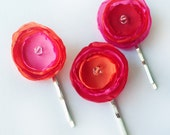 Poppy Hair Pins in Fabric, Mixing-Colors Collection - Fuchsia, Orange and Red