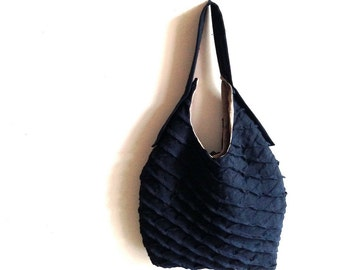 lax tote - midnight blue tote bag -  blue linen tote - sling tote
