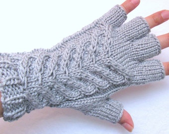 Silver Gray Cable Knit Gloves, Cable Knit Fingerless Gloves, Women's Fingerless Gloves