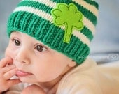 Clover Baby Hat Beanie with Emerald green and white stripes,  childrens accessories, childrens clothing, kids fashion, boys hat,