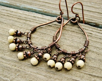 Wire Wrapped Teardrop Hoops with riverstone bead dangles earrings - antiqued copper and cream beads