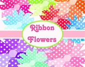 INSTANT DOWNLOAD Ribbon Flowers Polka Dot Retro Boutique Chic Digital Clipart Scrapbooking Graphics No.1 Buy 1 Get 1 Free