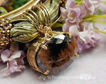 Cacoxenite in Amethyst, Purples and Golden Castles in the Sky, Wire Wrapped Pendant, Necklace, One of a Kind, Faceted Gemstone Necklace