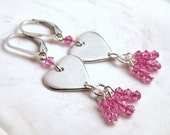 Pink Heart Earrings Valentine Jewelry Sterling Silver Heart Pink Earrings Crystal Dangles Leverback Handmade Heart Charm Genuine Swarovski