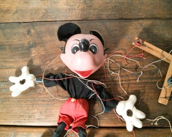 Walt Disney Mickey Mouse Marionette Hand Painted Pelham Puppet