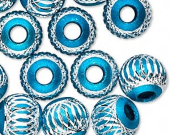 5 Beads, aluminum, turquoise, 12mm diamond-cut round with 4.5mm hole. BIG hole bead for european style charm chains