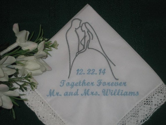 Wedding Handkerchief Wedding Silhouette Handkerchief