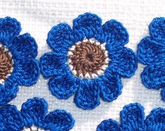 10 thread crochet applique flowers in brown ecru blue --  1489