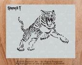 "Tiger Stencil - Reusable Craft & DIY Stencils - S1_01_57 - 8.5"" x 11"" - By Stencil1"