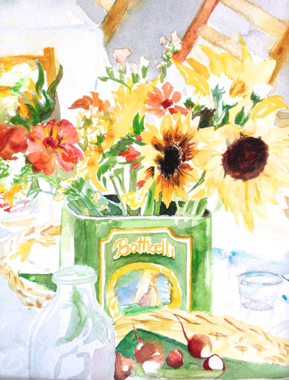 "Original 8x10"" Watercolor Painting: Fall Sunflowers."