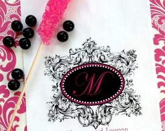 Wedding Candy Bags, Formal Flourish with Initial,wedding Favor bags,Wedding Monogram favors,Candy Buffet,Wedding, Bridal Shower,CUSTOM COLOR