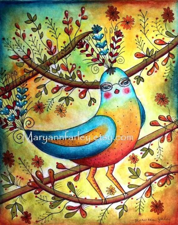 Bird Art Print, 8 x 10 or 5 x 6.5, Robin Redbreast w/ Glasses, Whimsical Art Garden, Watercolor Mixed Media, Bird Illustration, Orange Blue