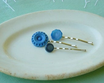 Bobby pin trio/ blue/ made from vintage reclaimed buttons