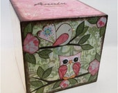EXTRA Large Wooden Coin Bank Box, Personalized, Piggy Bank, Coin Box, Prayer Box, Baby Shower Gift, Owls and Other Designs, MADE To Order