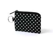 Black and White Polka Dot Canvas Card Pouch with Nickel Key Ring