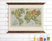 Vintage Map Art, French Garden, Wood Bound Canvas, Vegetable World Map Art