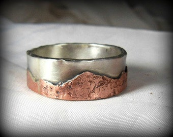 Men's Wedding Band, Mountain range silver and copper wedding band, unisex jewelry, custom made wedding ring, Men's Rustic Band