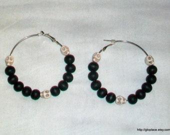Magnesite Skull Hoop Earrings