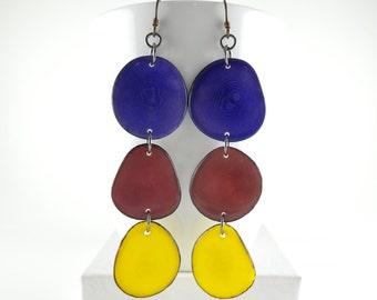 Pansy Purple, Garnet, Sunshine Yellow, Shoulder Duster, Trio of Tagua Nut Eco Earrings with Free USA Shipping #taguanut #ecofriendlyjewelry
