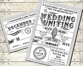 Delphine - Printable DIY Victorian Steampunk Wedding Invitation Suite - Vintage Typography - Customized Wedding Invitation