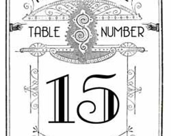 Printable DIY Art Deco Vintage Modern Wedding Table Numbers 1-25 - Great Gatsby - Black White - Digital Download