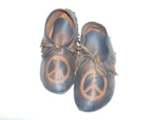 Custom Leather Peace Sign Fringed Moccasins in Brown Distressed Deerskin Hippie Retro Indian Buckskin Shoes  Handmade by Debbie Leather